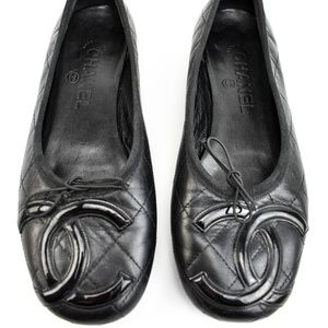 "CHANEL Black, Leather & ""CC"" Ballet Flats (o)"